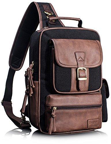 Leaper Canvas Crossbody Bag Sling Bag Sling Rucksack Brusttasche Unisex Umhängetasche Outdoor schwarz