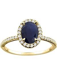 Revoni 14 Karat Gelbgold Ovalschliff Ring Saphir 8x6mm mit Diamanten CY416330