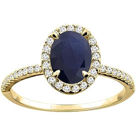 Revoni 14 carat anillo de zafiro corte ovalado de oro amarillo 8 x 6 mm con diamantes CY416330