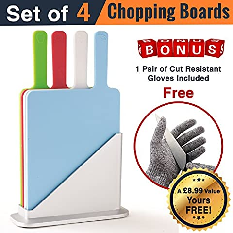 Chopping board set | Chef's Companion Plastic chopping board set of 4 chopping/cutting boards with Large Handles & Stand, plus a free pair of medium sized cut resistant kitchen gloves