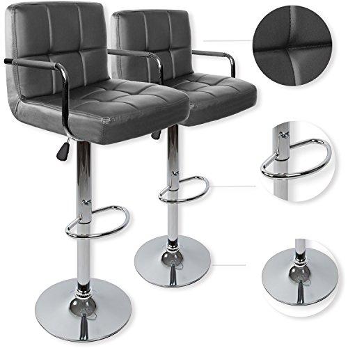 Kesser® 2er Set Barhocker Barstuhl Tresenhocker Küchenhocker Loungesessel Esszimmerstuhl ✓ Höhenverstellbar ✓ 360° drehbar ✓ mit Lehne   Gepolsterte Sitzfläche   mit Fußablage   Farbe: Grau