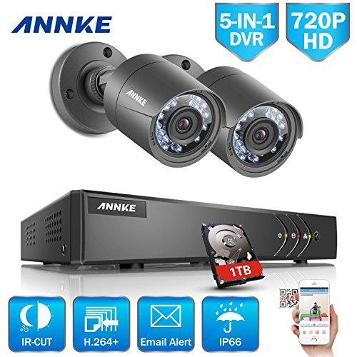 ANNKE-Kit-de-2-Cmaras-de-Vigilancia-Seguridad-CCTV-DVR-4CH-TVI-1080P-Lite-Recorder-720P-Cmara-Bala-de-Vigilancia-CCTV-Exterior-Interiorincluido-1TB-disco-duro-de-vigilancia