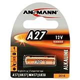 ANSMANN Batteria di Marca Alkaline A27 (12V) MN27, V27A per apertura porta garage, sistema di allarme, mini radio, grilletto per videocamera, dispositivi di misura, campana ecc.