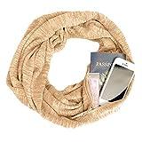 Bovake Damen XXL Schal Frauen Solide Winter Cabrio Infinity Schal Tasche Schleife Reißverschluss Tasche Schals (Beige)