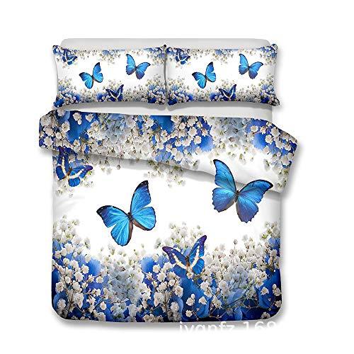 CSYPYLE Kreatives Drucken Bettwäsche-Set Weiße Blume Und Blaues Schmetterlingsmuster Bequeme Schlafzimmer-Blatt-Kissen-Kasten-Satz, Superkönig