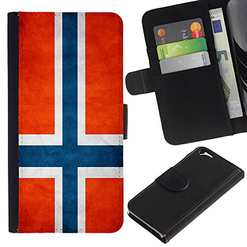 Graphic4You Vintage Uralt Flagge Von Schottland Schottisch Design Brieftasche Leder Hülle Case Schutzhülle für Apple iPhone 6 / 6S Norwegisch