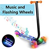 Jaketen Kids Kick 3 Wheels Scooter For Boys Girls Children Toddler Mini T-Bar Push Scooter With Music And LED Wheels [US Stock] (Blue)