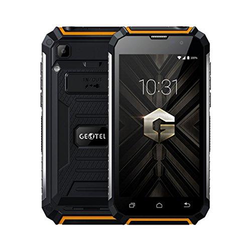 Rugum Geotel G1 Robuste Sim-Free 3G Smartphone,Wasserdichte Outdoor Handy, Stoßfest, Staubdicht, MTK6580A Quad Core 1.3GHz, Andriod 7.0, 7500mAh Große Batterie,5.0in Display, Dual SIM-Card (Orange)