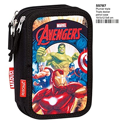 Montichelvo Avengers Thunder – Plumier de Triple Compartimento 45 Piezas, Estuche (Perona 55787)