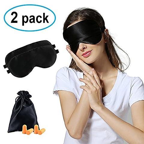 2 Pack Masques de sommeil / masque pour les yeux, Befen pur naturel soie blindfold masque de sommeil, ultra doux confortable masque respirant avec sac en satin, bouchons d