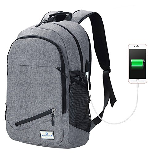 Koolertron Laptoprucksack mit USB-Anschluss 15.6 Zoll Universität Tasche Business Slim Backpack Schule Outdoor Resien (Grau)