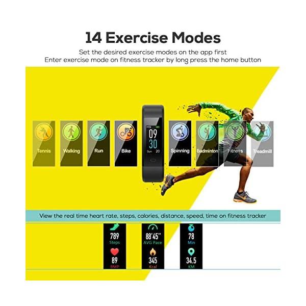 CHEREEKI Pulsera Actividad, Fitness Tracker IP68 Impermeable Monitor de Frecuencia Cardiaca 14 Modos de Ejercicio… 4