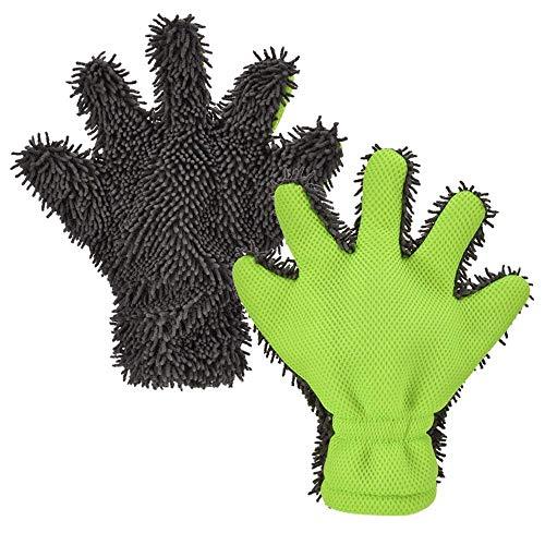 Autowaschhandschuh 5-Finger Dual Wash Autowaschhandschuhe Handschuh Pack 2 Kfz-Reinigungsgeräte Chenille Mikrofaser Wash Handtücher Tücher Lint Scratch Free Grün mit grauer Farbe Für die Auto- und Hau