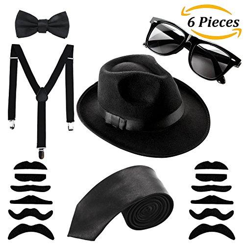 Aneco Mafia Kostüm Set Al Capone Hut Krawatte Hosenträger Schnurrbart Sonnenbrillen,20er Jahre Party Kostüum im Gangster Zuhälter-Look (Gangster Kostüme)