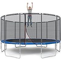 Ampel 24 Outdoor Trampolin Ø 490 cm Blau | Komplett mit Außenliegendem Netz | Gartentrampolin mit 12 Gepolsterten Stangen | Sicherheitsnetz mit Stabilitätsring | Belastbarkeit 180 kg