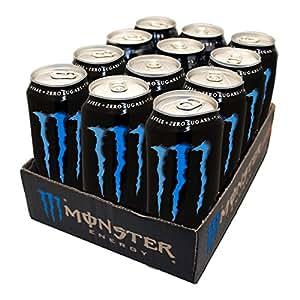 Canette Monster Energy Absolutely Zero, Boisson Énergisante Sans Sucre, Energy Drink, avec Taurine et Caféine, Pack de 12, 12 x 50 cl