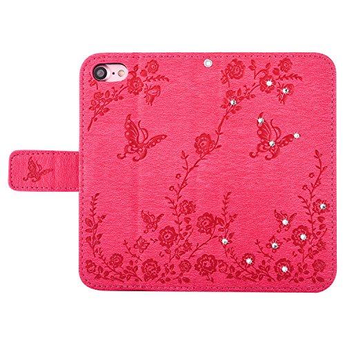 Schutzhülle für iPhone 7 / iPhone 8 Hülle, Tasche für iPhone 7 Flip Case, iPhone 7 / iPhone 8 Case iPhone 7 / iPhone 8 Hülle Flip für iPhone 7 / iPhone 8 Handyhülle - Rose Rot