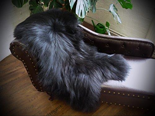 Öko Island Schaffell Lammfell Fell schwarz 120-130cm