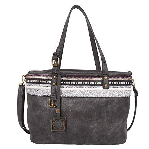 21K Borsa a tracolla di cuoio delle borse della spalla delle donne ed imbottitura del merletto KF1704 nero