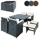 Miadomodo – Conjunto de muebles para jardín - 1 mesa de comedor, 4 sillas y 4 taburetes con cojínes – color a elegir