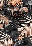 Agenda 2020: 12 mois journalier 2020 XXL - grand format A4 - deux pages par jour - janvier à décembre 2020 - planificateur, semainier simple & ... feuille de palmier tropical or rose et noir