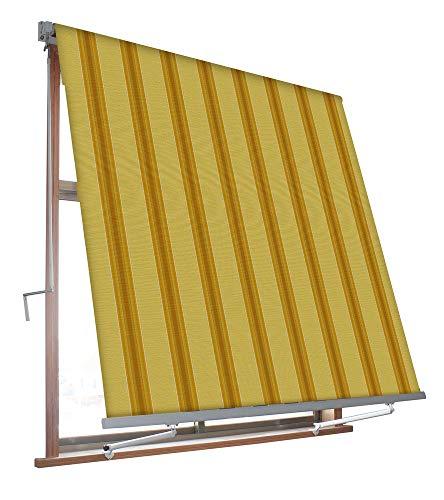 VERDELOOK Tenda da Sole Milos a Caduta avvolgibile con Braccetti 80cm per ancoraggio, larghezza 3m e altezza 2,45m, colore beige e ocra