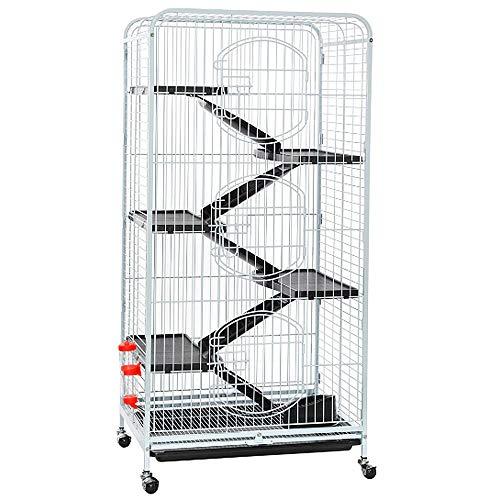 Yaheetech gabbia per conigli animali domestici grande in metallo con 4 rotelle orientabili 64 x 43 x 131 cm bianca