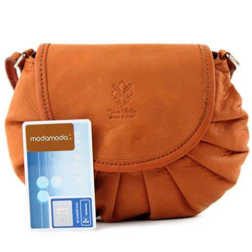 modamoda–Italiano Borsa in pelle borsa a tracolla borsa City Girl Piccola Borsa donna pelle Nappa Mini T129 Orangebraun