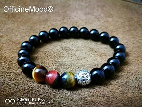 braccialetto Tiger Eye, Onice nero, e perla argento