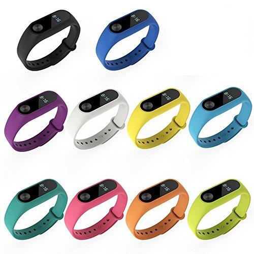 BEETEST pulseras para mi band 2 , (10 piezas) Mi Band 2,silicona repuesto correa Recambio reloj banda correa reemplazo para Xiaomi Mi banda 2 bandas de accesorios inteligentes pulsera (No Tracker)