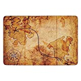 ziHeadwear Bathroom Bath Rug Kitchen Floor Mat Carpet,Compass,Bohemian Style Treasure Hunt Map with Small Compass Paint on It Manuscript Atlas Finding,Tan,Flannel Microfiber Non-Slip Soft Absorbent