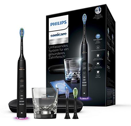 Philips Sonicare DiamondClean Smart Elektrische Zahnbürste mit Schalltechnologie HX9903/13, Ladeglas, Reiseetui, schwarz Philips Sonicare Diamond