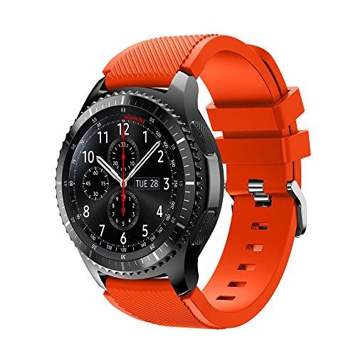 Uhrenarmband 22mm-Hochwertige 22mm Armband Silikon Ersatz Uhrenarmband Armbänder Kompatibel Galaxy Watch Gear S3 Frontier, Ersatz Armbänder mit Schnellverschluss (Orange)