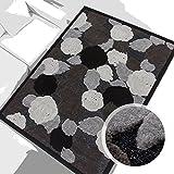 Teppich Modern Desinger 3D Handcarved Glanzfaser Acryl Glitzer Pralines Blumen Grau Schwarz Creme 120x170 cm