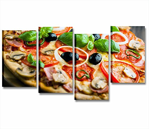 Pizza 2 - Quadro moderno intelaiato 152x78 cm stampa su tela quadri stampa moderni cena ristorante pizzeria locale pomodoro olive funghi margherita arredamento cucina pub lounge bar wine gelateria casa wall art forniture canvas home decor arredo camera letto studio salotto ufficio
