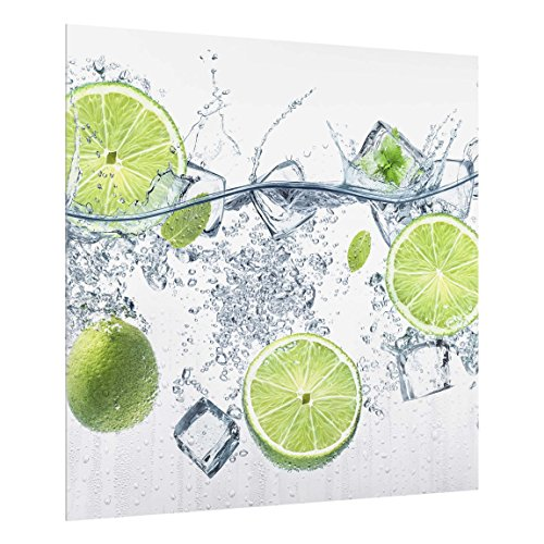 Bilderwelten Spritzschutz Glas - Erfrischende Limette - Quadrat 1:1, HxB: 59cm x 60cm - Wasser-ofen-system