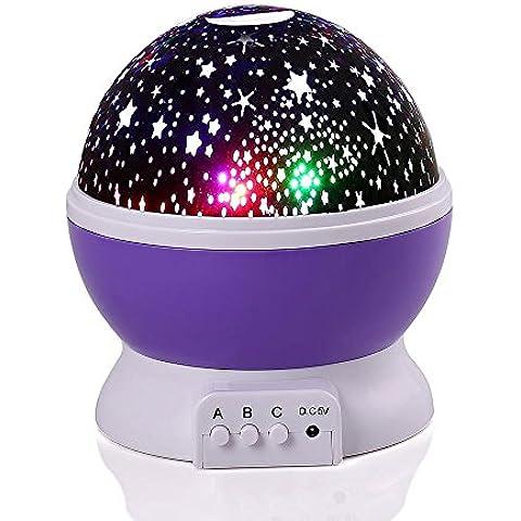 lederTEK Lámpara Proyector del Cielo de Estrellas y Luna Creando un Maravilloso Entorno Nocturno en la Pared de la Habitación con Varios Colores para
