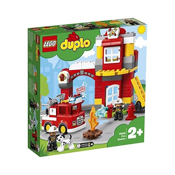 LEGO DUPLOTown CasermadeiPompieri, Luci e Suoni, Autopompa e 2 Figure dei Pompieri,Giocattoli per Bambini dai 2 ai 5 Anni, 10903 2 spesavip