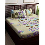 Story@Home 240 TC 100% Cotton Double Bedsheet with 2 Pillow Covers, Forever Collection Series, Floral Pattern (Beige and Purple)