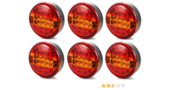 6x LED 24V hamburger 140 mm rear tail lights lamps truck trailer chassis van