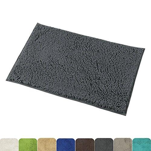 Mayshine 50x80 cm Dunkelgrau Non-slip Badematte Anti-rutscher Badvorleger Wasseranziehende Mikrofaser Chenille Badteppich(** 8 Farben & 5 Größen** )