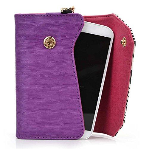 Kroo Lien de série universel femmes portefeuille Wristlet sac bandoulière compatible avec de nombreux 4à 12,7cm Étui pour Apple iPhone/Asus/Acer/Amazon/Téléphone portable Alcatel Multicolore - rose Multicolore - Purple with White Zebra