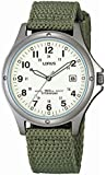 Lorus Gents Quartz Sports watch with white dial Green Military Style Canvas Strap RXD425L8