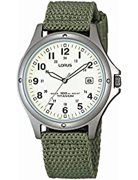 Lorus Men's Quartz Watch with Cream Dial Analog Display and Green Military Canvas Strap (RXD425L8)