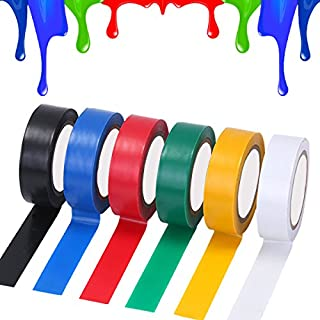 Electrical Tape, 6 Pack PVC Insulating Tape Coloured Adhesive Tape Waterproof Tape Roll, 32 Feet 0.63 Inch, Assorted Colour