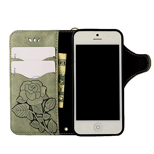 Rose Blume geprägt Flip Stand Case Retro PU-Leder Magnetverschluss Geldbörse Tasche mit Lanyard für iPhone 7/8 ( Color : Pink ) Light green