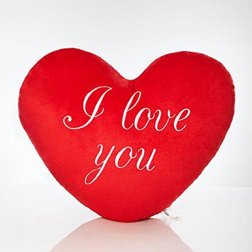 Lumaland I Love You - Kissen Herz Knuddelkissen Plüschkissen kuschelig weich Rot weiß Bedruckt 35 cm