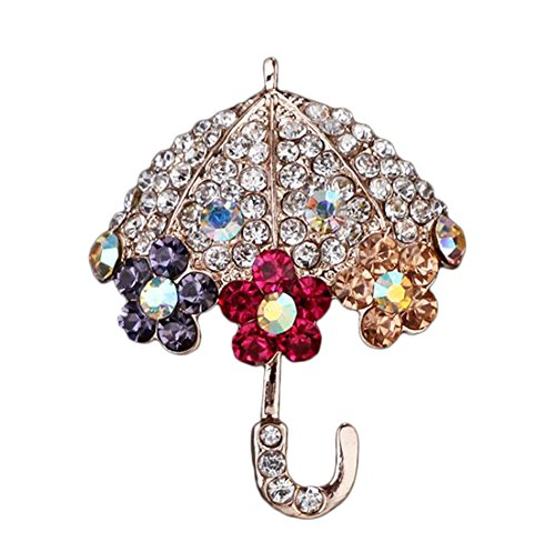 Hosaire 1X Fashion Personality Umbrella Design Women's Christmas Brooch Pin Rhinestone Covered Scarves Shawl Clip For Women Ladies