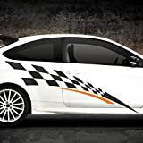 Wandaro X9042 2er Set 2-Farbiger Auto Seitenaufkleber Racingstyle brilliantblau