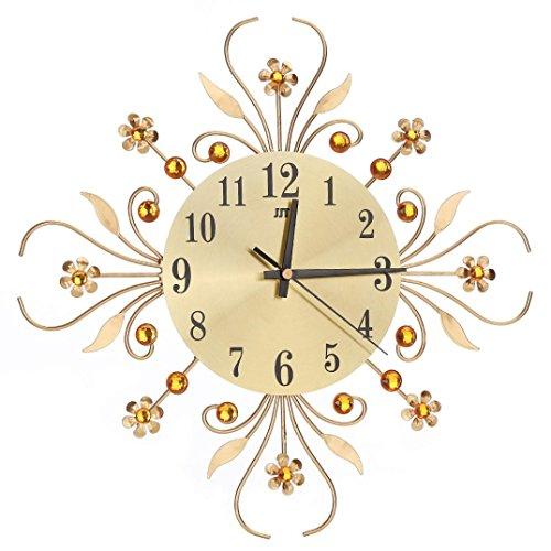 Preisvergleich Produktbild 3D Wanduhr gold Schwarz Diamanten Nicht-Ticking Stille Blendung Uhr Wohnzimmer und Schlafzimmer LuckyGirls (Gold)